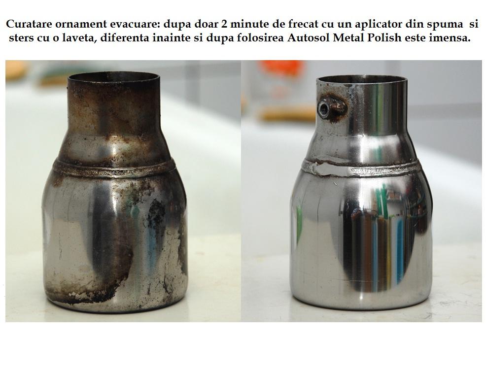 Curatare ornament evacuare cu Autosol Metal Polish
