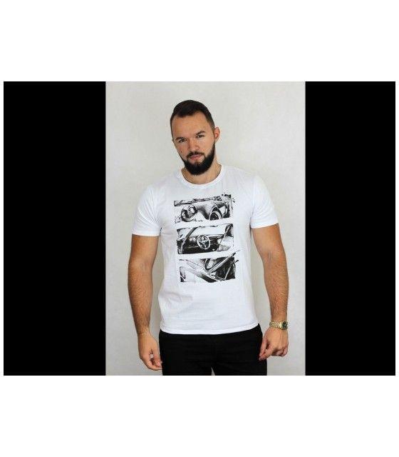 T-shirt White Retro - Tricou alb bumbac
